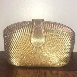 La Regale Gold Clamshell Bag